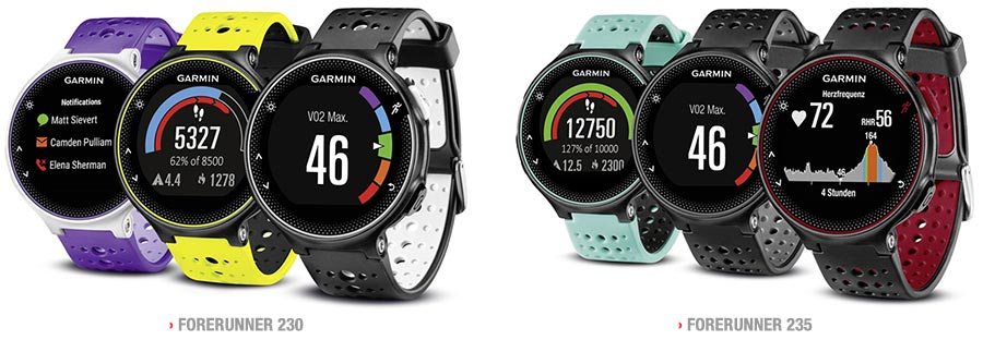 Garmin Forerunner 230 vs 235 Color Options